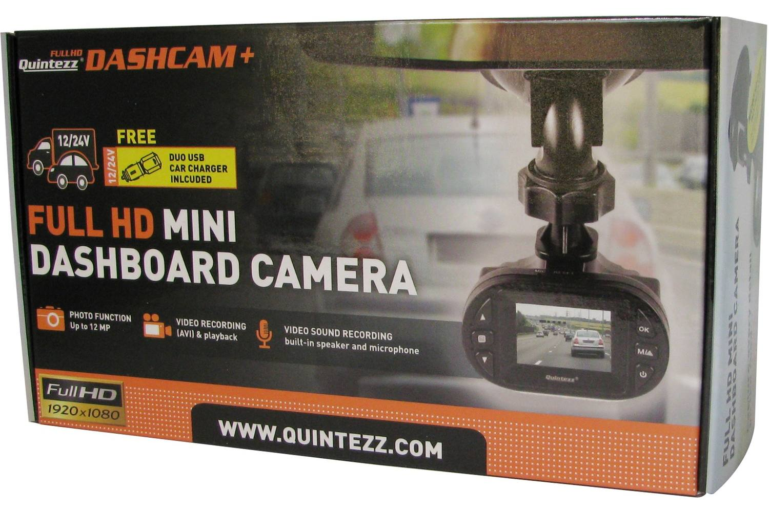 Dashboard camera, Quintezz, 1,5 Full HD, 12/24V 1