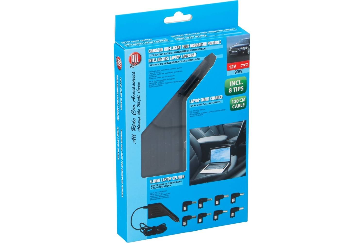 Charger, AllRide, smart, 12V, 90W, laptop, with 8 tips 2