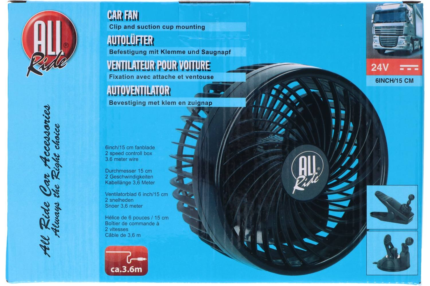 Fan, AllRide, 24V, with suction cup and clip 2