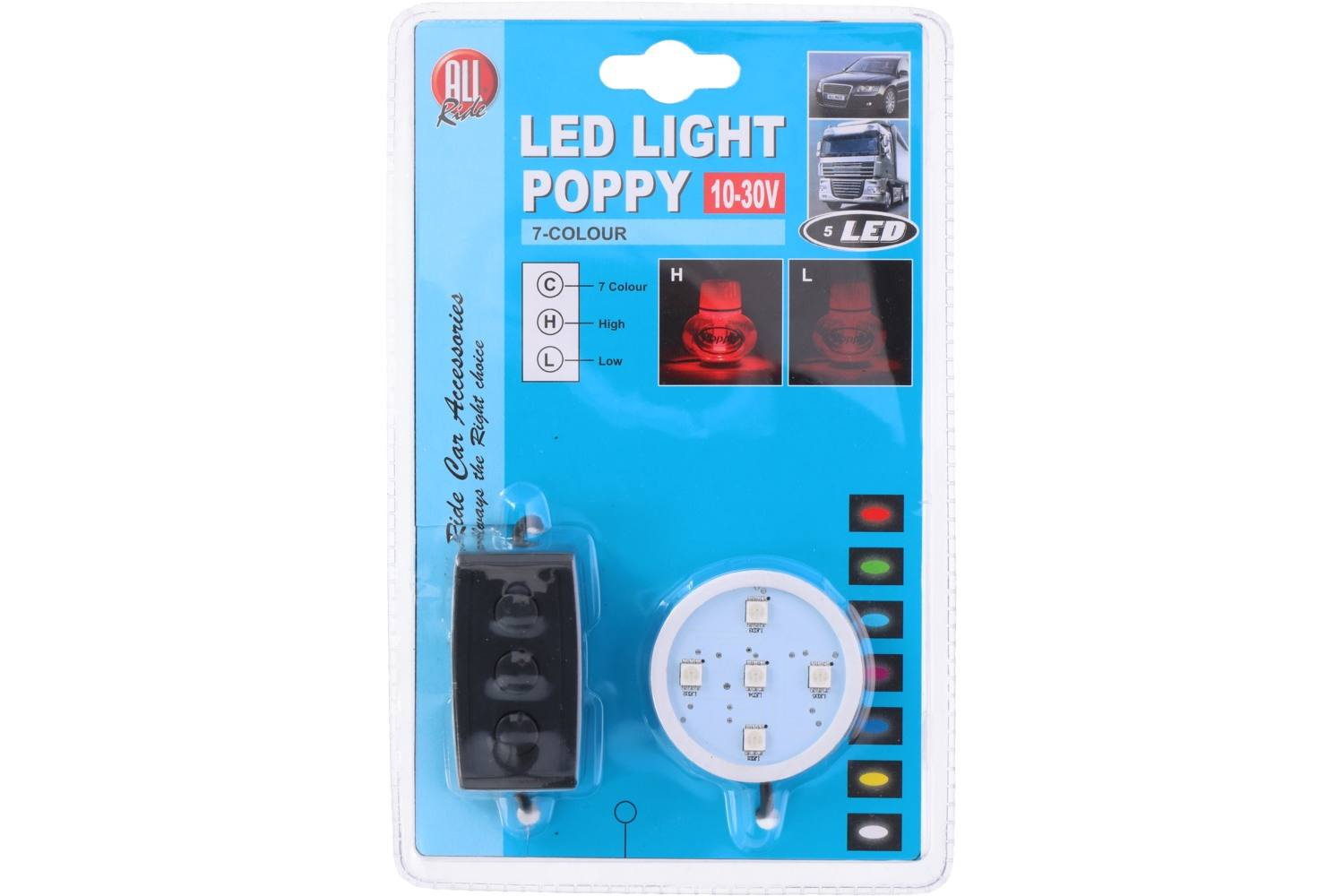 Poppy light, AllRide, LED and Dimmable, 7 colours, 12-24V 1