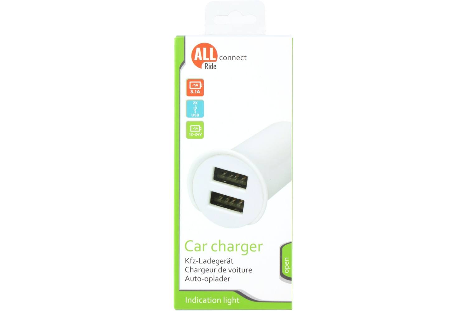 Car charger, AllRide, Connect, 3.1A, 12/24V, 2x USB A, white 2