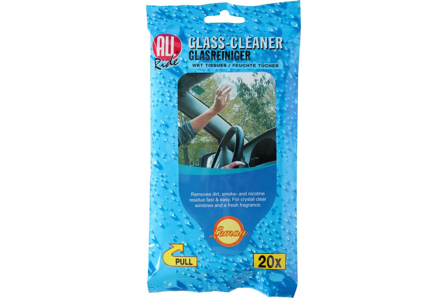 Glass cleaner, AllRide, wet tissues, 20 1