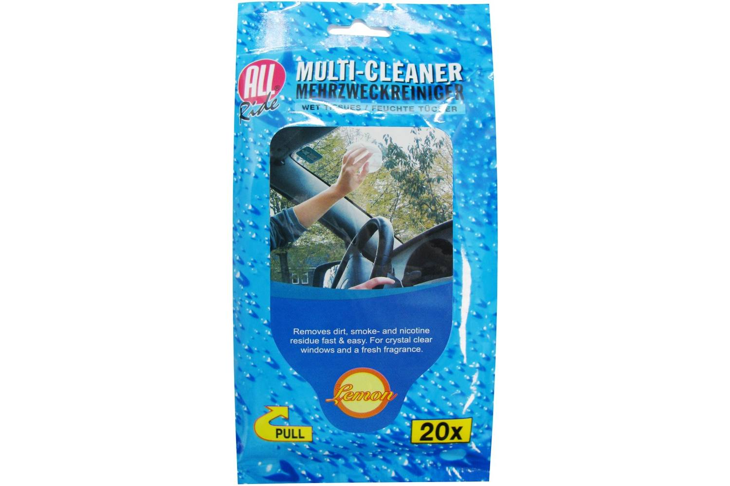Glass cleaner, AllRide, wet tissues, 20 2