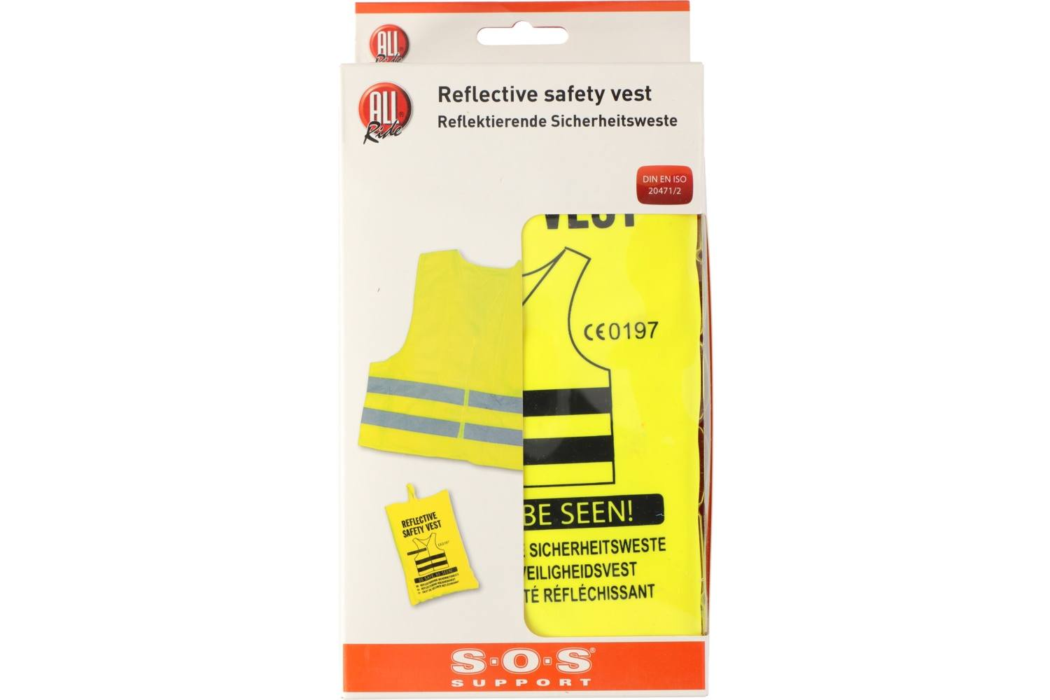 Reflective safety vest, AllRide SOS support, yellow, in bag 2