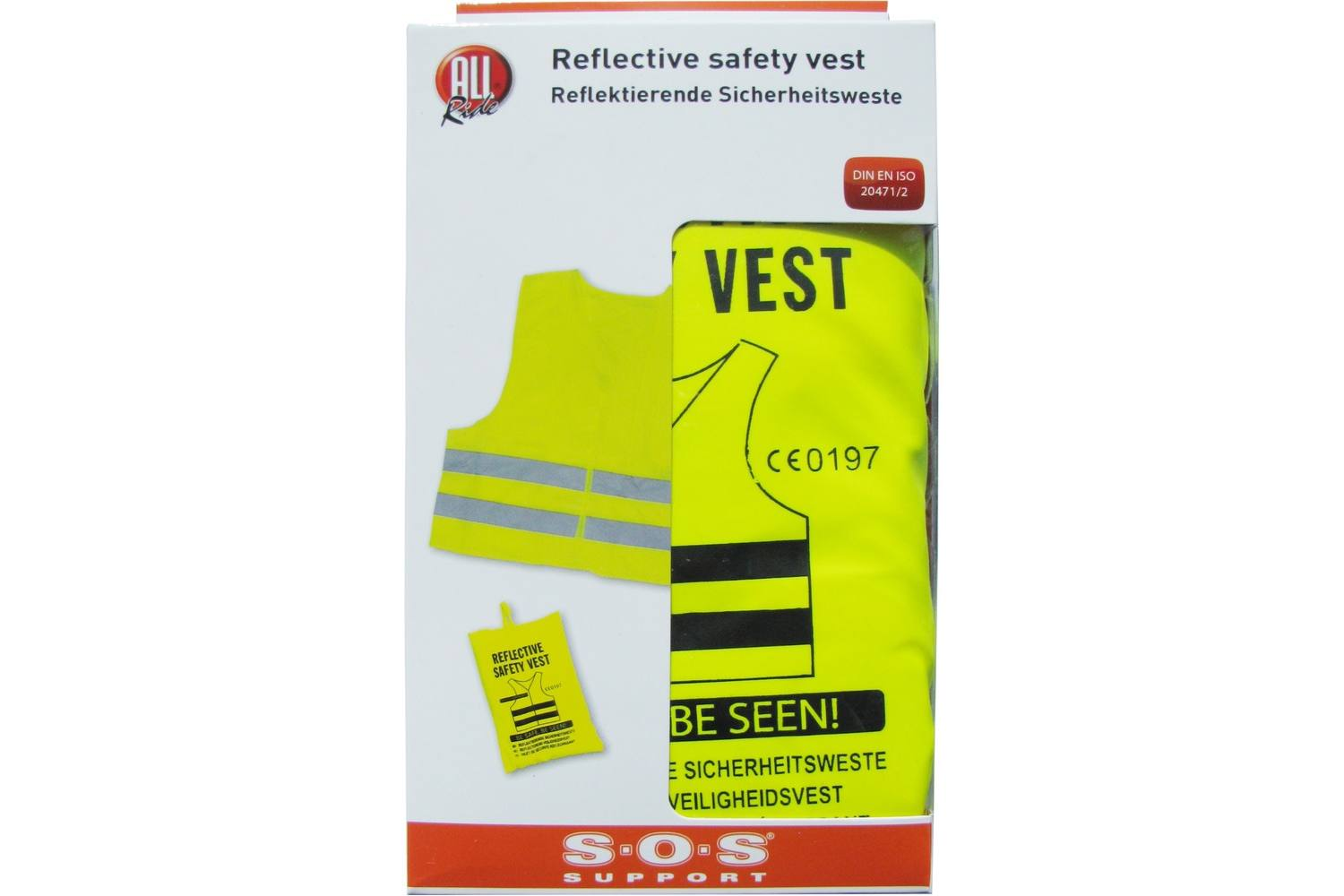 Reflective safety vest, AllRide SOS support, yellow, in bag 3