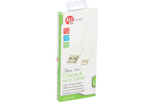 Sync and charge cable, AllRide Connect, Lightning, 2.1A 1