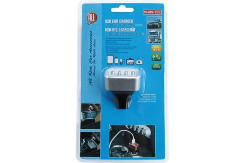 Cigarette lighter charger, AllRide, prise AC > 4 USB, 5V, 12/24V, 8700mA 1
