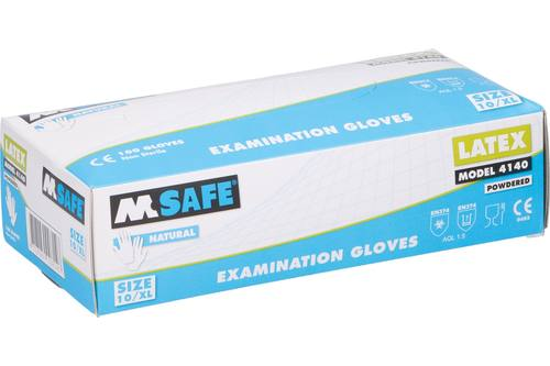 Gloves, M-Safe 4140, latex, 100 pieces, size XL 1