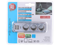 3-way charger, AllRide, AC and 2 USB ports, 12/24V, max. 3.1A